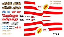 ROD SHOP DODGE Mike Fons - Jim Thompson Red 1/64th Ho Slot Car DECALS