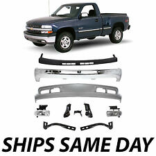 NEW Complete Front Bumper + Bracket Combo Kit For 1999-2002 Chevy Silverado 1500