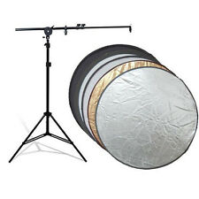 "Photo Studio Reflector Holding Arm Light Stand Kit w/ 32"" 5in1 Collapsable Disc"