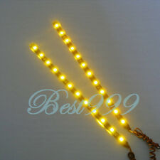 "2x Amber/Yellow 12 LEDs 30cm/11.8"" 5050 SMD LED Strip Light Waterproof 12V DIY"