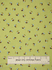 Little Brown Bear Baby Nursery Theme Bumble Bee Toss Green Cotton Fabric YARD