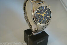 Seiko Chronograph. 12 hour timer, 7t92-0FX0. Bi-metal, Blue dial, July 2006.
