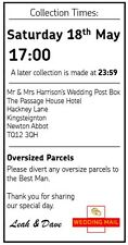 """Personalised Royal Mail Wedding Letter Post Box Collection Sign Insert 8"""" x 4"""""""