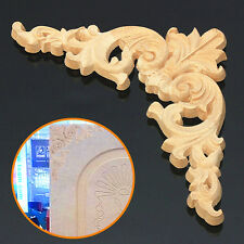Unpainted Wood Oak Carved Corner Onlay Applique Furniture Home Decor 12.5x12.5cm