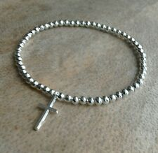 Simple Silver Ball Beaded Cross Crucifix Stretchy Bracelet Bangle
