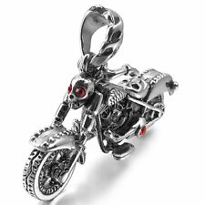 MENDINO Men's Stainless Steel Pendant Necklace Skull Knight Wing Skeleton Motor