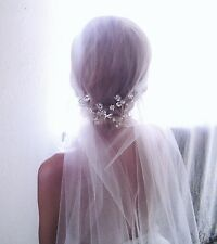 Juliet Cap Veil Swarovski Rhinestone ANY LENGTH cut edge veil Vintage Inspired