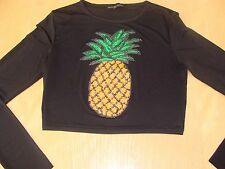 MISSGUIDED Sequinned Pineapple Crop Top Black Size S/M