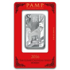 1~OUNCE ~PURE .999 SILVER~ YEAR of the MONKEY ~ PAMP SUISSE ~ SEALED BAR ~ $9.99