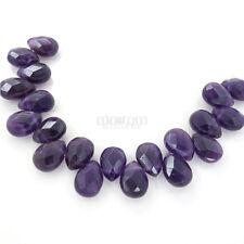 20 Purple Amethyst Faceted Flat Teardrop Pear Briolette Beads ap.8mmx12mm #15211