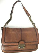 Fossil Brown Leather Satchel ZB5101 Lock Flap Chain Strap Shoulder Bag