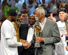 Lebron James & Bill Russell Miami Heat 2013 NBA Champions MVP 8x10 Glossy Photo