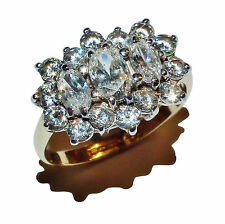 Fully Hallmarked 9ct Yellow Gold & Cubic Zirconia Cluster Ring - UK Size: I 1/2