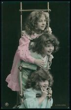 Beautiful Edwardian Child Girl Friends fantasy vintage old 1910s photo postcard