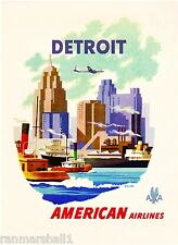 1950s Detroit Michigan United States of America Travel Advertisement Art Poster