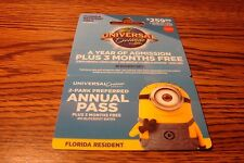 UNIVERSAL Orlando Resort A YEAR pass GIFT CARD NO VALUE-Never Activated  $259.99
