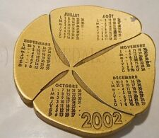 2002 Médaille Calendrier MDP Anniversaire Trèfle Four-leaf clover Lucky Medal