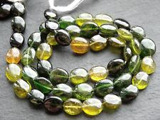"HAND SHAPED GREEN & YELLOW TOURMALINE OVALS, approx 6x7mm, 14"", 40 beads"