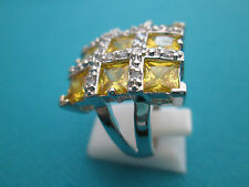 Silver Natural Green Amethyst And White Topaz Ring Size P 1/2, US 8 (rg1623)
