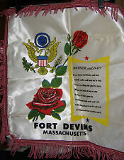 "SATIN PILLOW COVER ""MOTHER and DAD"" FORT DEVENS, MASS"