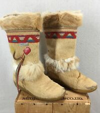 Vintage Tecnica Genuine Leather & Fur Indian Aztec Italian Boots Sz 7.5/8 US