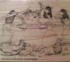 "NEW! HOUSE MOUSE by STAMPENDOUS ""Kitty Cleaning"" Wood Mounted Rubber Stamp"