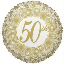 """50th Anniversary Golden Wedding Party Decoration 18"""" Foil Balloon"""