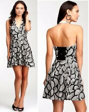 NWT Bebe black ivory white halter squin plunging v neck top flare dress S small