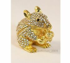 BEJEWELED RHINESTONE CRYSTAL ENAMEL TRINKET/JEWELRY BOX - SPARKLING MICE/MOUSE