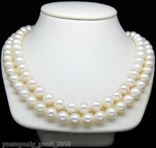 """MP""""New Products Lower Price Double Strand 9-10MM AA+ White Pearl Necklace"""