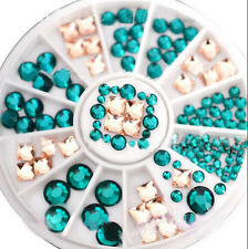 3D DIY Nail Art Tips Decoration Square Round Glitter Glass Rhinestone Wheel XJ