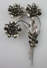 Vintage large By LeGro Le Gro 3-D boquet Flower Sterling Silver 925 Pin Brooch