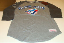 Toronto Blue Jays MLB Baseball 3/4 Raglan T Shirt Mitchell Ness Small Retro Logo