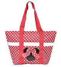 Disney Minnie Mouse Icon Polka Dot Travel Beach Tote Red White