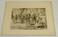 1888 Antique Print/TOURISTS AT THE LYELL GLACIER, CA/Photo Etching by AJ Keller