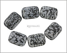 6 Snowflake Obsidian Flat Rectangle Beads 18x25mm 89033