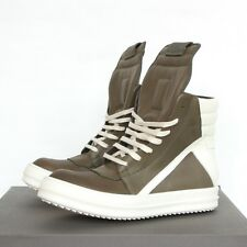 RICK OWENS palm green white leather shoes Geobasket hi-top dunks sneakers 39 NEW