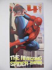 Fantástico colorido Spider-man 4 hoy 4ª Cumpleaños tarjeta de saludo & Insignia