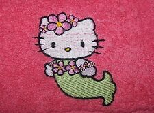 """Personalizado Bordado Hello Kitty Sirena cara cloth/flannel"" 100% Algodón"
