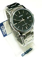 MTP-V002D-1A Black Casio Men's Watch Stainless Steel Band Brand-New Analog Mens