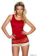 Sexy Top im Tank - Style mit Spitzenborte Trägertop T-shirt Rot Gr.  38