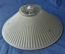 VINTAGE ART DECO GLASS LIGHT SHADE, WHITE & CLEAR - 3-HOLES TO CEILING HANG