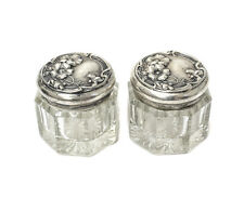 Pair of Sterling Silver & Octagonal Glass Lobed Vanity Jars, Art Nouveau
