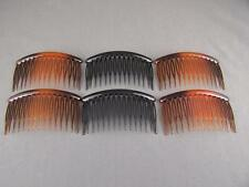 "set pack 6 Tortoise Brown Black plastic 3.25"" long hair accessory side clip comb"