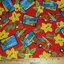 4 yd Hawaiian Shirt Motif Cotton Fabric Tropical Surf Boards  BFab