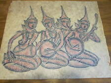 Lot of 2 Thailand Temple Rubbings-1970s-on Rice Paper-Dancers&Musicians