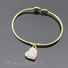 LOVELY GOLD PLATE CRYSTAL HEART DANGLE CUFF BANGLE BRACELET (NEW WITH DEFECTS)