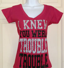 New Juniors size M I KNEW YOU WERE TROUBLE TROUBLE T-Shirt Pink rue21