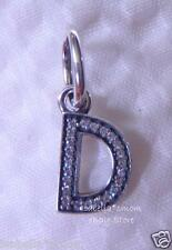 LETTER D Authentic PANDORA Sterling Silver/Cz Zirconia Dangle NEW Charm-Bead NEW