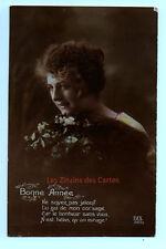 Carte postale ancienne   Femme   Bonne année   Bouquet de fleurs   Gui